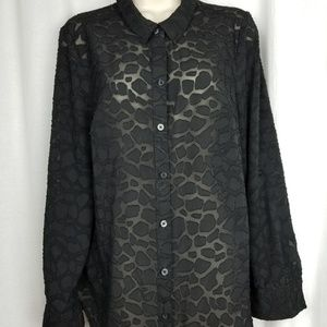ANN TAYLOR womens semi sheer top size 12 black